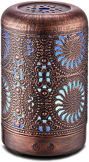 Essential Oil Diffuser 100ml, Ultrasonic Aromatherapy Oil Diffuser Humidifier, Mini Vintage Metal Ultrasonic Cool Mist Diffusers for Essential Oils, Waterless Auto Shut-off, Gift Idea