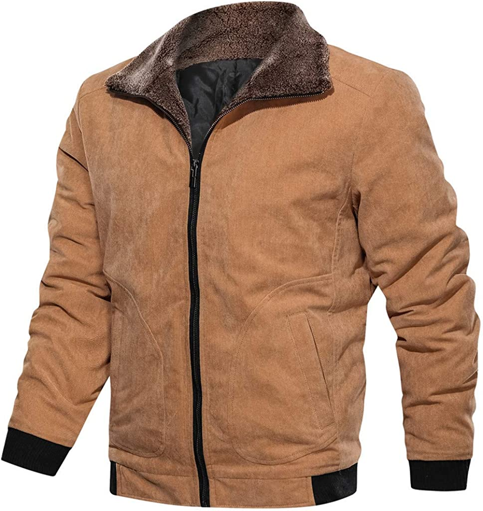 eipogp Men's Corduroy Jacket Sherpa Lined Windproof Warm Coat Vintage Faux Fur Collar Motorcycle Outwear