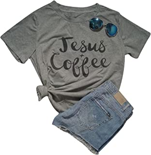 Women Jesus Coffee Casual T-Shirt Short Sleeve Letter Print Graphic Tee Top