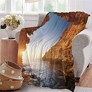 KFUTMD Soft Lightweight Blanket Sunset in Pacific Paradise Ocean Cave with Morning Horizon Stone Calm Seacoast Art Cream Blue Sofa Camping Reading Car Travel W60 xL80