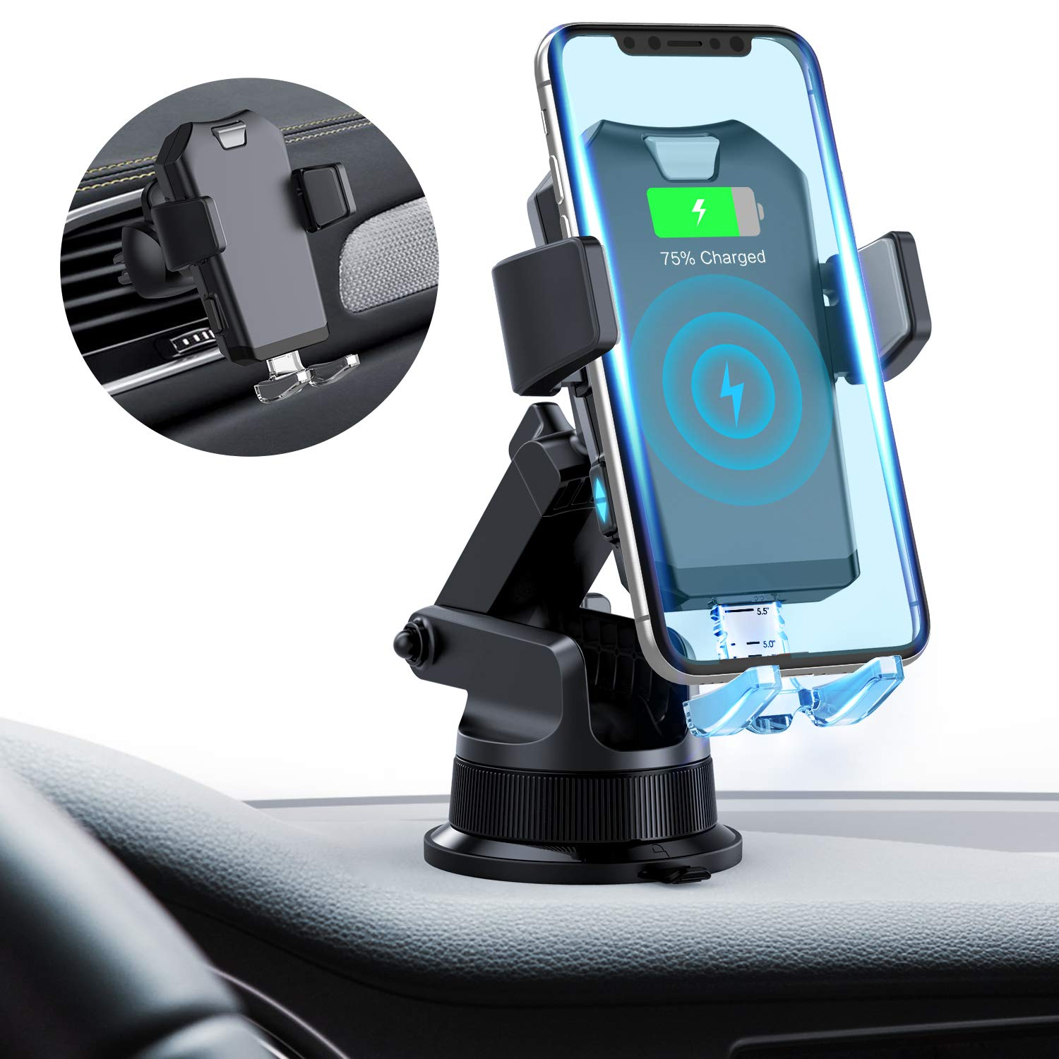//S8 Samsung Galaxy S10 //S10+//S9 //S9 Auto Clamping 7.5W//10W Fast Charging Qi Car Phone Holder Holder Air Vent Dashboard Compatible with iPhone Xs//Xs Max//XR//X// 8//8 Plus Wireless Car Charger Mount