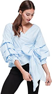 Pleione Ruched 3/4 Sleeve Wrap Tie Front Shirt Blouse