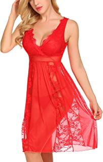 Avidlove Women's Long Chemise Nightgown Sexy Lace Babydoll Lingerie Bridal Eyelash Negligee