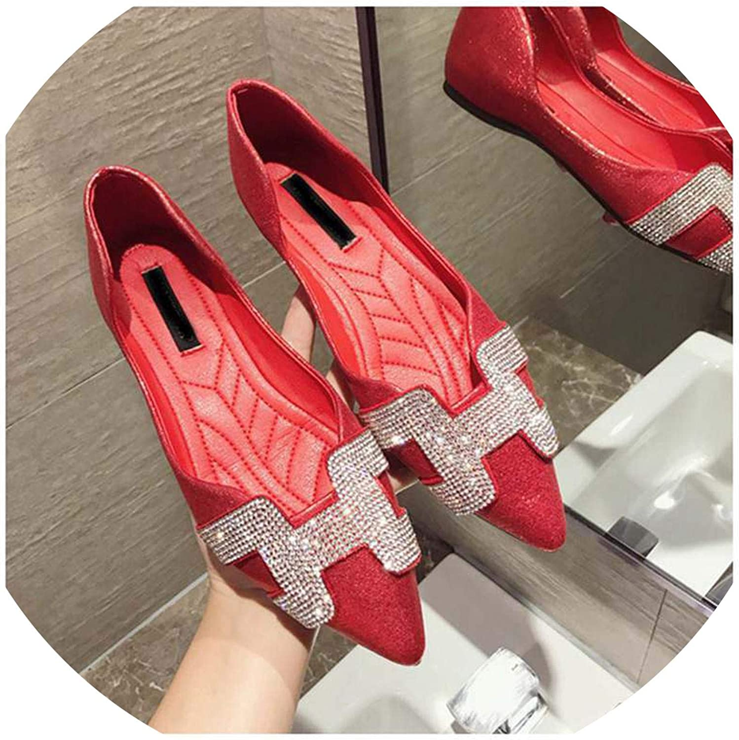FAT BABY Fashion Women Flat Ballet shoes Bling Crystal Pointed Toe Flats shoes Elegant Comfortable Lady Shiny shoes