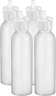MoYo Natural Labs 4 oz Squirt Bottles, Squeezable Empty Travel Containers, BPA Free HDPE Plastic for Essential Oils and Liquids, Toiletry/Cosmetic Bottles (24-410) (Pack of 4, HDPE Translucent White)