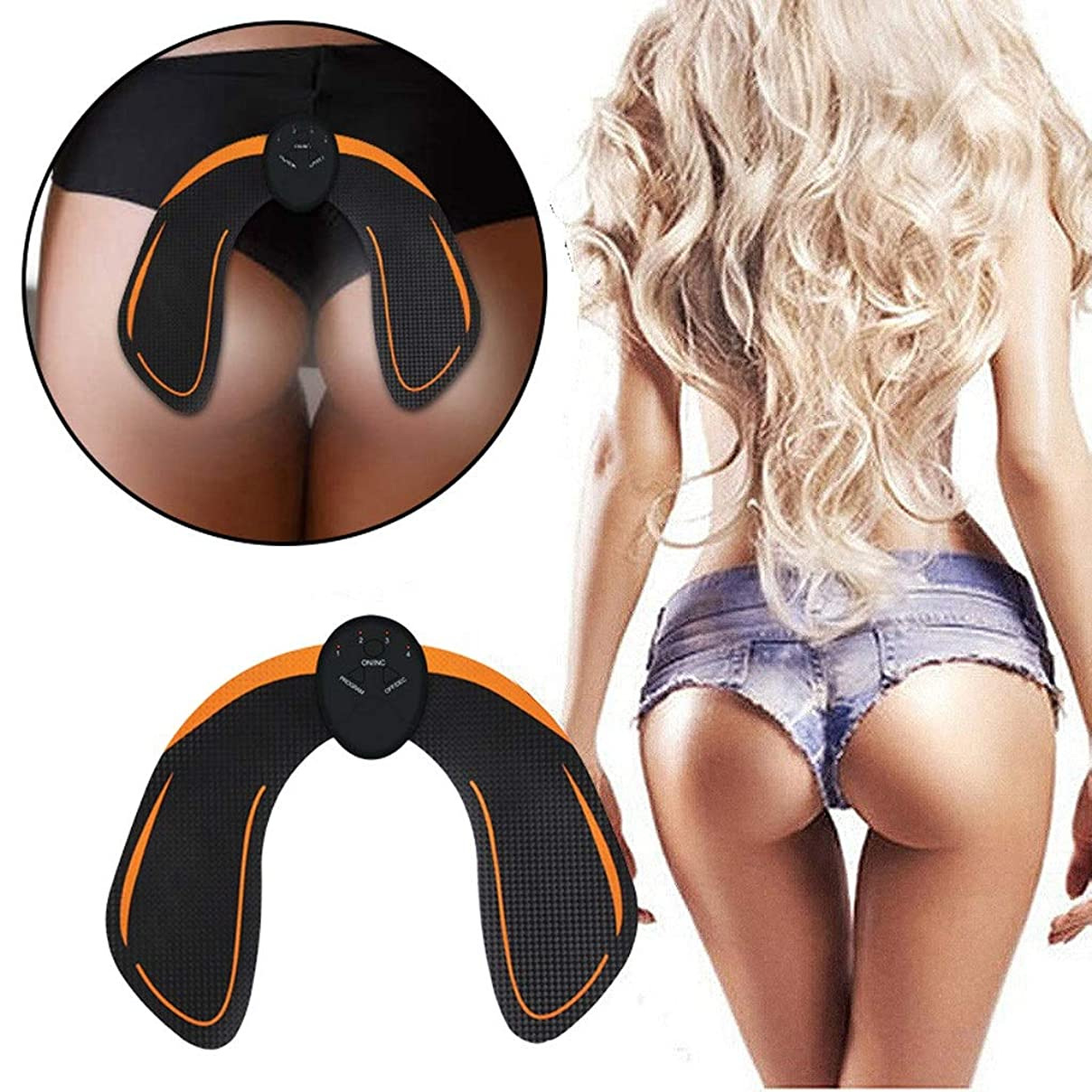 泥だらけ羽ヨーグルト電気ヒップフィットネス機器EMS振動美しいヒップ楽器痩身マシンヒップ整形ヒップマッサージ美容機 (Size : Battery orange)