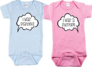 Twin Boy and Girl Bodysuits, Includes 2 Bodysuits, Keep Calm, Monkey See, She Did It