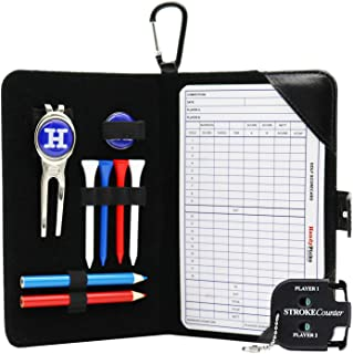 Handy Picks Golf Scorecard Holder n Yardage Book Cover in Genuine Leather - Divot Repair Tool, Ball Marker, Golf Tees, Pencil n Scorecards, Scorer Included, Gift for Golfers