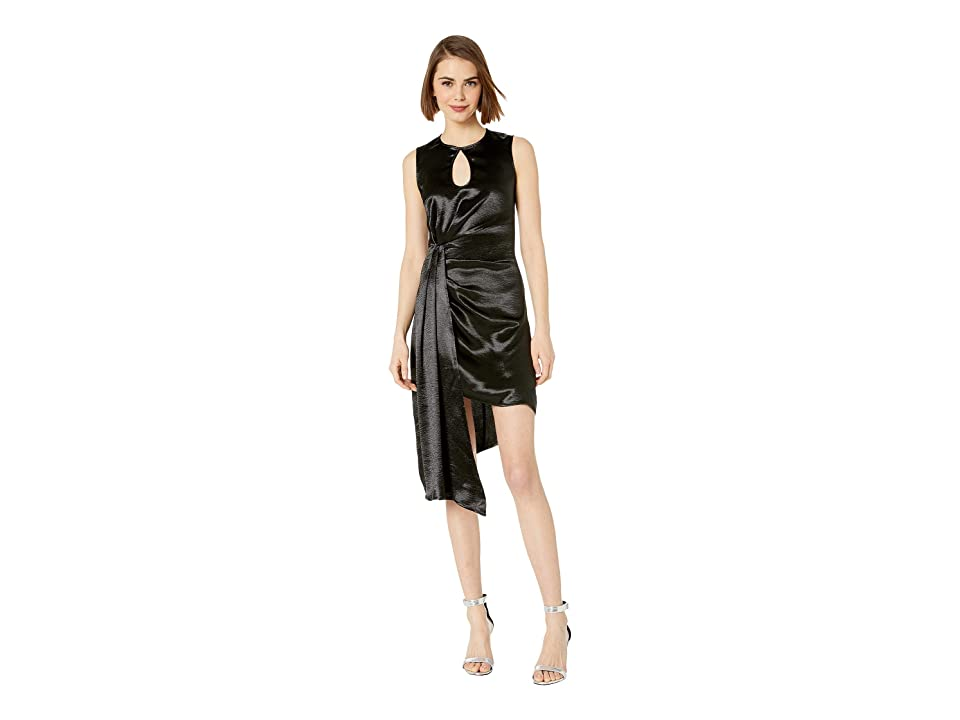 Bebe Hammered Satin Asymmetrical Dress (Jet Black) Women