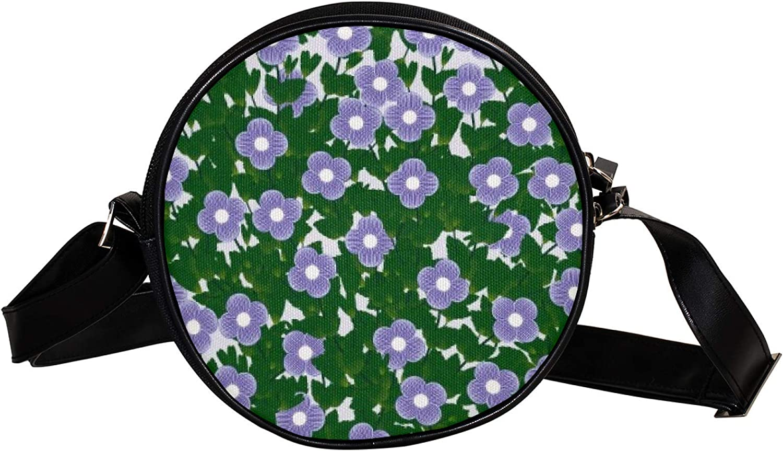 purple flowers Women's Round Cross-Body Zipper Max 100% quality warranty! 62% OFF Bag circ Shoulder
