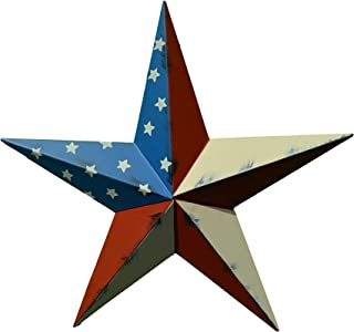 40 Inch Rustic American Americana Flag Barn Star Made with Galvanized Metal to Prevent Rusting. Amish Hand Made Your Source for Heavy Duty Metal Tin Barn Stars and Primitive Style Stars for Your Country Crafts and Home and Garden Decor. American Handcrafted - Made in the Usa!
