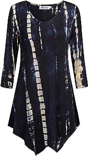 Ninedaily Tie Dye Tunic 3/4 Sleeve V Neck Asymmetrical Womens Dressy Blouse Tops