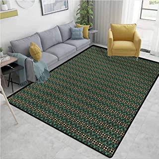 Geometric Area Floor Rugs Mosaic Composition with Rhombuses Triangles and Rectangles Abstract Modern Design Easy to Clean W63 x L94 Multicolor