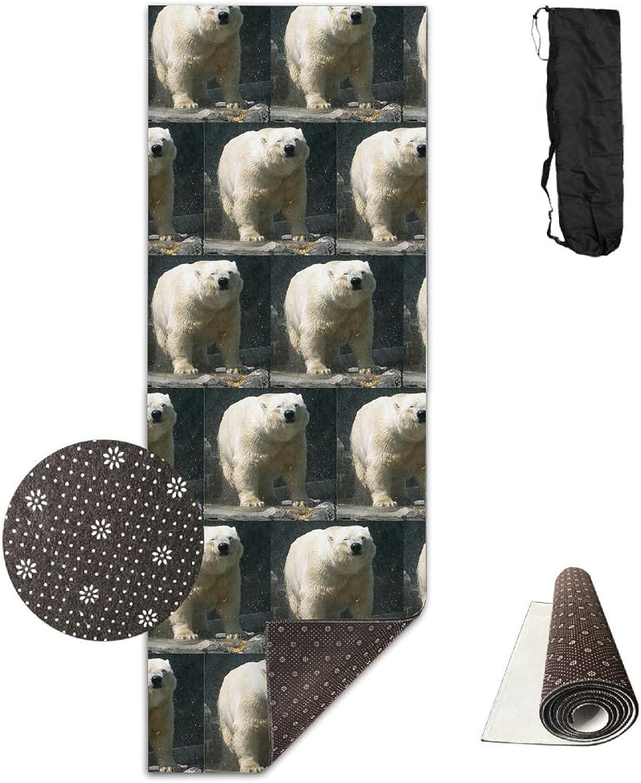 Yoga Mat Non Slip 24  X 71  Exercise Mats Polar Bears Premium Fitness Pilates Carrying Strap
