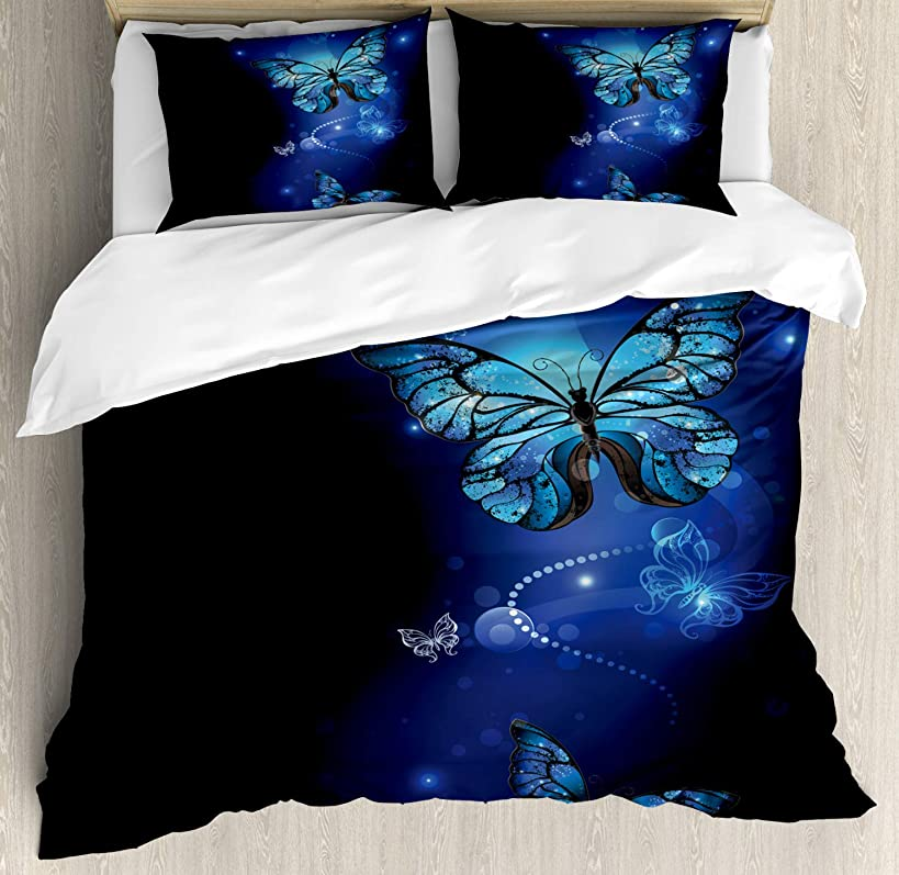 Ambesonne Dark Blue Duvet Cover Set Queen Size, Fantasy Magical Butterflies Monarch Artistic Morpho Inspiration Animal, Decorative 3 Piece Bedding Set with 2 Pillow Shams, Cobalt Blue Black