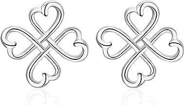 Celtic Knot Stud Earrings Sterling Silver Irish Good Luck Loving Heart Clover Celtic Earrings Studs Jewelry for Women Teen Girls