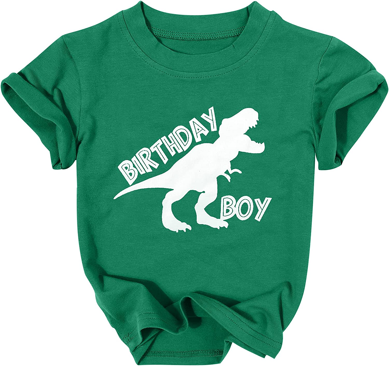 Toddler Boys Birthday Boy Shirt Cute Cartoon Dinosaur Tshirt Casual Short Sleeve Top for 1st 2nd 3rd 4th 5th
