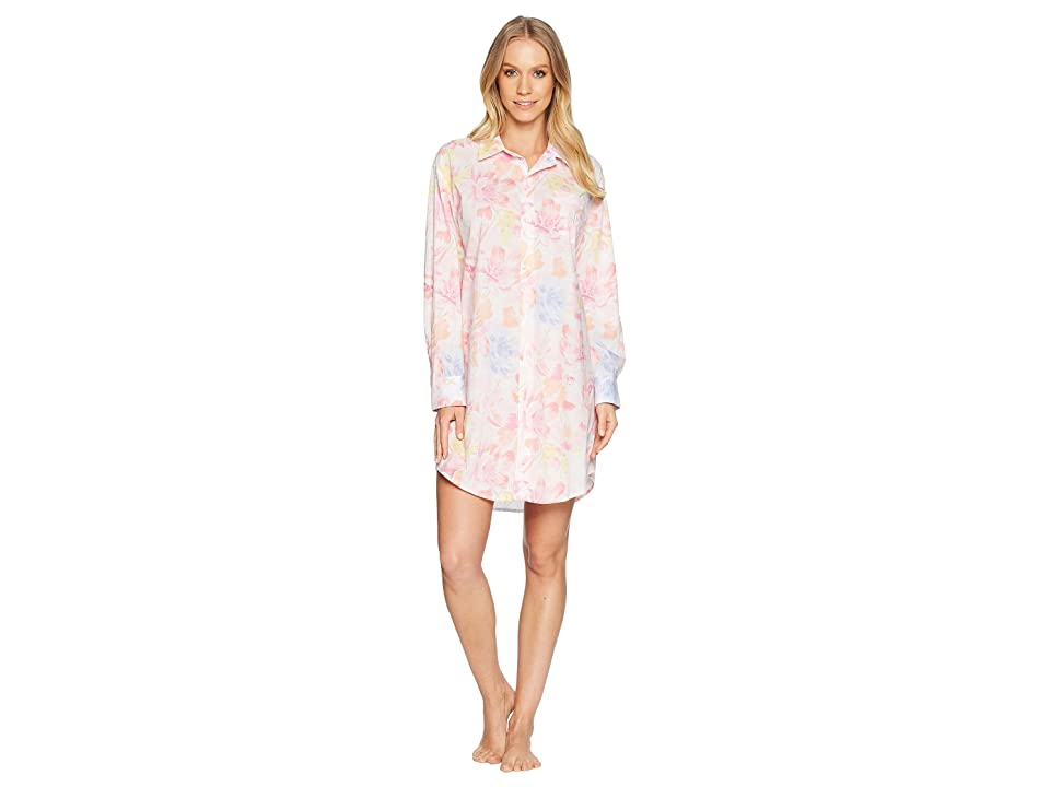 LAUREN Ralph Lauren Long Sleeve Roll Tab His Shirt Sleepshirt (White Multi Floral) Women