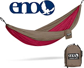 ENO - Eagles Nest Outfitters DoubleNest Lightweight Camping Hammock, 1 to 2 Person, Khaki/Maroon (FFP)