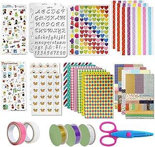 49 Pièces Ensemble D'Accessoires de Scrapbooking, Coin Photo Autocollant Coloré Ruban Modèle de Dessin Ciseaux Accessoires...