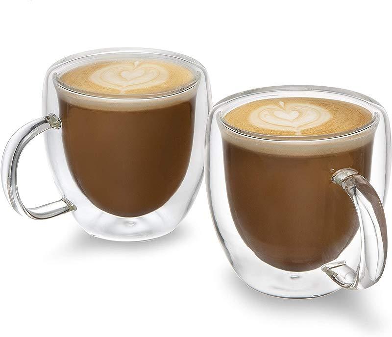 Set Of 2 Premium 5oz Espresso Cups Double Walled Espresso Glasses Savour The Taste And Aroma From Your Favorite Espresso Machine
