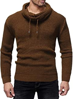 fanmeili-AU Men's Knitting Warm Pullover All Match Pure Color Trendy Winter Pile Collar Sweaters