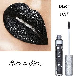 Lipstick Liquid,Lipstick Matte Set To Glitter Liquid Lipstick Waterproof Lip Gloss Makeup Lipstick for Women (H)