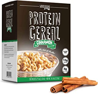 Protein Cereal, Low Carb Cereal, High Protein Cereal, 15g Protein, 4g Net Carbs, High Performance Cereal, 5 Individual Macro-Controlled Packages (Cinnamon)
