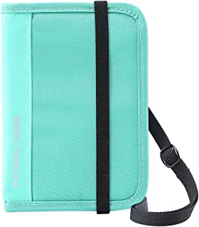 Passport Holder Travel Wallet, Lychii RFID Blocking Document Organizer Case with Removable Shoulder Straps for Passports, IDs, Credit Cards, Flight Tickets, Money and Other Travel Accessories (Green)