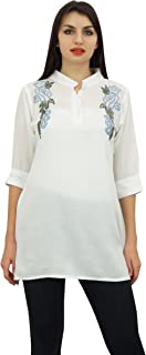 Phagun Women's Cotton Modal Embroidered Summer Top 3/4 Sleeve Casual Tunic