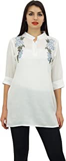 Phagun Women's Cotton Modal Embroidered Summer Top 3/4 Sleeve Casual Tunic