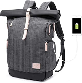 Travel Backpack Waterproof Anti Theft Multipurpose Roll Top Business Laptop Bag Daypack with USB Port for Men