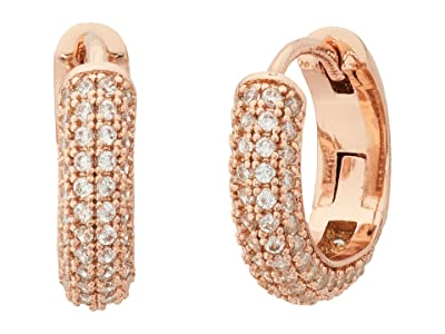 Kate Spade New York Brilliant Statements Pave Mini Huggies Earrings (Clear/Rose Gold) Earring