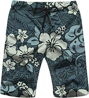 X-Large Vintage Hibiscus Flowers Tribal Hawaiian Mens Boardshorts Swim Trunks Quick-Drying Running Shorts
