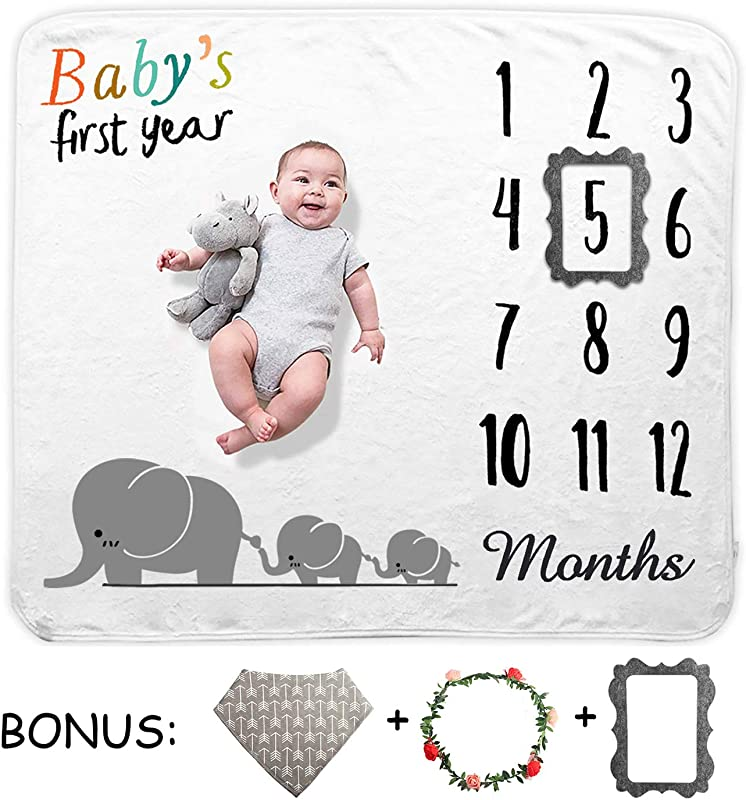TUTUWEN Baby Monthly Milestone Blanket Growth Blanket Photography Background Prop Photo Memory Shower Gift For Infant Boy Girl Unisex Includes Head Garland Bib And Frame Marker 40 X55