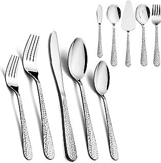 65-Piece Silverware Serving Set, HaWare Stainless Steel Hammered Flatware Cutlery for 12, Elegant & Classic Design Tablewa...