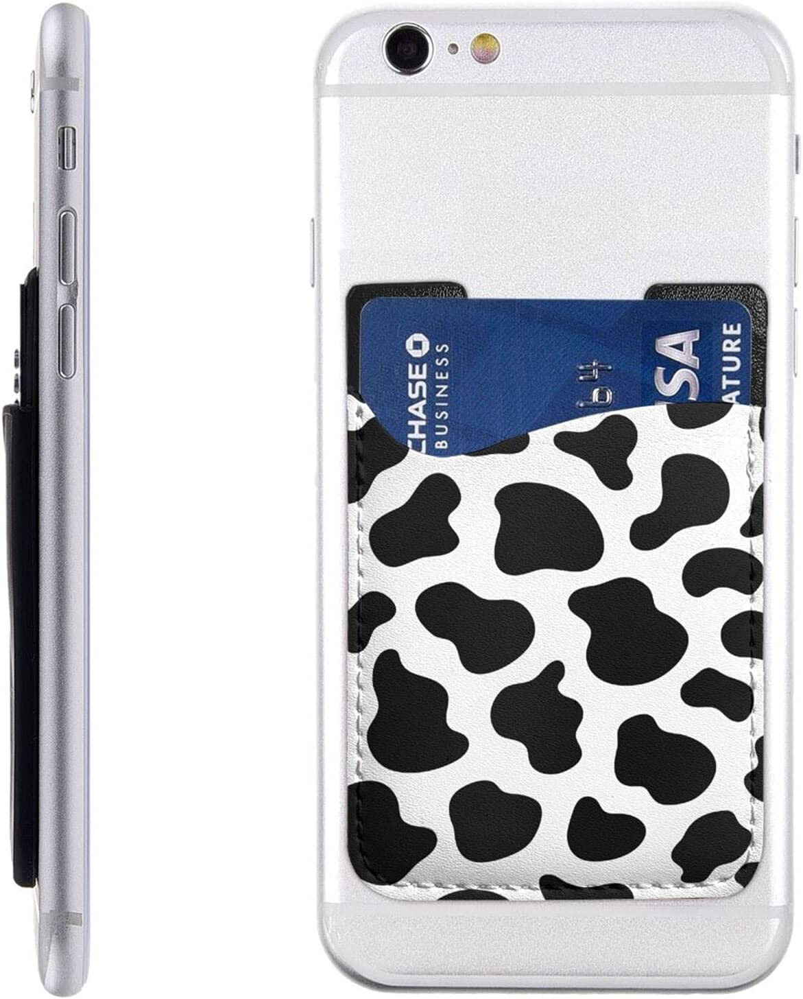 Cow Print Phone Card Holder Max 70% OFF Credit Cas Back Cell Stick Wallet Sale special price On