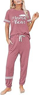 Pyjamas for Women Set Cotton Rich Short Sleeve Nightwear Casual Loose Loungewear Pjs Tracksuits for Ladies 2 Piece