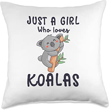 Girl Loves Koalas Cute Decorative Bedroom Couch for Girls Throw Pillow