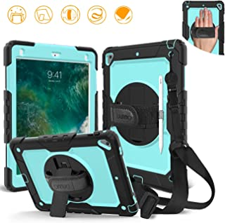 DUNNO iPad 9.7 2017/2018 case - Heavy Duty Protective Case with 360° Rotating Kickstand & Built-in Screen Protector Shockproof Design for Apple iPad 9.7 inch 2017/2018 (5th/6th Gen) (Black/Light Blue)
