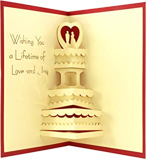 Wedding Cake - 3D Popup Greeting Card, Wedding Advice Cards, Anniversary Card, Invitation Cards Wedding, Sympathy Cards, Thank You Card, Birthday Cards, Xmas Card to Someone Special (Red)