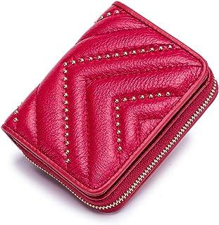 محافظ جلدية للنساء صغيرة لحمل بطاقات الائتمان بتصميم أكورديون مزدوج الطي