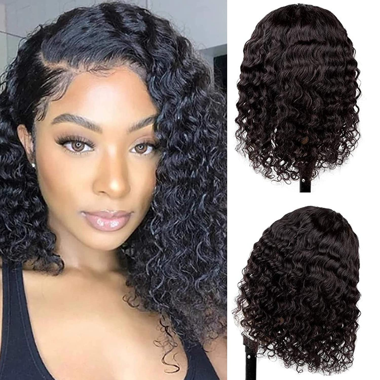 Deep Wave Lace Fashion Closure Wigs 12 Unprocessed Inch National uniform free shipping Plucked Braz Pre