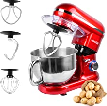Hornbill Tilt-head Stand Mixer, Electric Mixer 600W 6-Speed 5-Quart Stainless Steel Bowl Professional Kitchen Mixer With Dough Hook, Whisk, Beater(Red)