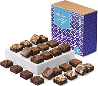 Fairytale Brownies Thinking of You Magic Morsel 24 Gourmet Chocolate Food Gift Basket for Sympathy Good Luck or All-Occasion - 1.5 Inch x 1.5 Inch Bite-Size Brownies - 24 Pieces - Item CT424