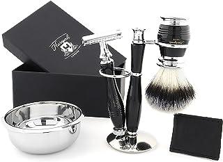Zestaw do golenia dla mężczyzn – syntetyczne włosie do golenia zestaw pędzli do golenia z podstawką i miską do golenia – e...