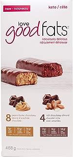 Love Good Fats Box of 12 x 39g Snack Bars (Peanut Butter Chocolatey & Rich Chocolatey Almond)