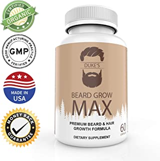 Duke's Beard Grow Max - Mens Beard and Hair Growth Vitamins - Faster Beard Growth - Thicker Beard - 60 ct