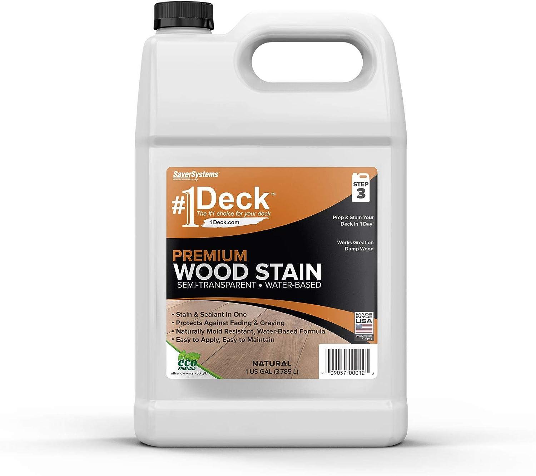 #1 Deck Premium Semi-Transparent Wood Stain for Decks, Fences, & Siding - 1 Gallon (Natural)