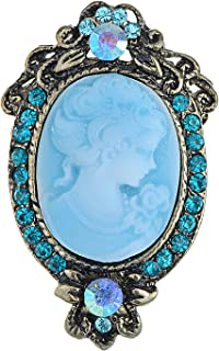 Alilang Antique Golden Tone Light Blue Rhinestones Cameo Woman Brooch Pin